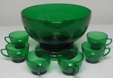 Anchor Hocking Glass FOREST GREEN Punch Bowl & Stand Cups 8 pc Set