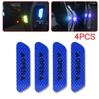 4Pcs Car Door Open Sticker Tapes Super Blue Reflective Safety Warning Door Decal