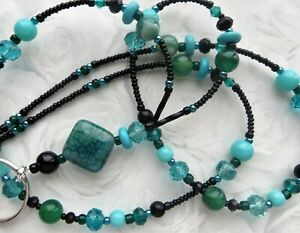 AQUAMARINE EVENING- Beaded Lanyard ID Badge Holder- Teacher Gift, Necklace Clasp