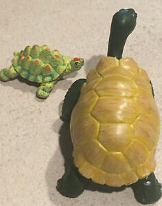 Turtle Toys Giant Tortoise by Safari Ltd  Miami FL 1996 Small turtle Lot of 2