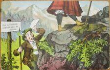 Risque 1908 Postcard: Mountain Man Looking Up Woman's Skirt