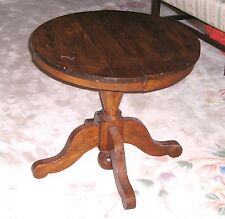 Antique Childs Round Oak Pestal  Table that Opens