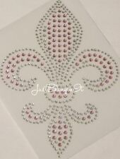 Fleur de Lis Pink and Clear Rhinestone Iron On Transfer