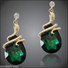Green Zircon Rhinestone Crystal Curly Snake Emerald 18K GP Earrings E1901