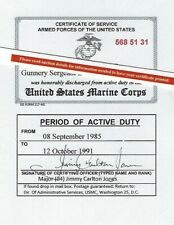 United States Marine Corps and Reserves Honorable Discharge Lam Card