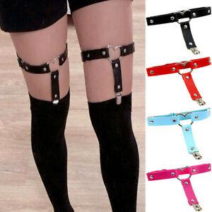 Women Punk Garter Belt Heart Leg Ring PU Rivets Thigh Harness Suspender
