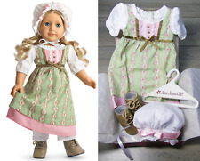 "American Girl 18"" Doll Clothes CAROLINE'S WORK DRESS Outfit Boots Dress Cap BOX"