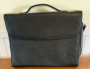 Christian Dior Beauty Make-Up Bag Travel Case Mirror Black Leather NEW