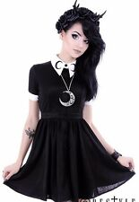 MOON DRESS White collar with moon symbol, circle, gothic dress