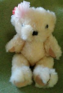 """Stuffed Animal: Jointed 7"""" Stuffed Teddy Bear w/Pink Paws & Pink Flower Bow."""