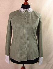 Schicke PETER HAHN Bluse, Hemd  olivgrün - weiß mit Besatz Gr. 40