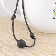 Fashion Jewelry Black Leather Cord Long Chain Natural Lava Stone Necklace Gifts