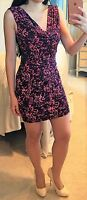 Pink Black Animal Leopard Print Cowl Neck Slinky Mesh Cutout Bodycon Dress M