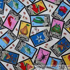 BonEful Fabric FQ Cotton Quilt Color Ethnic Flower Fish Frog Folk Art Tarot Card