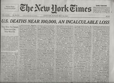 NEW YORK TIMES MAIN SECTION MAY 24, 2020 NAMES OF THE U.S, DEAD ON THE COVER