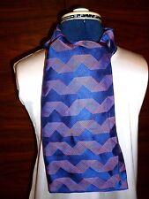 100% woven silk men's cravat/scarf Navy blue/blue/orange pattern NEW