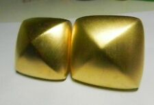 """GIVENCHY 1980s Signed Etruscan Soft Goldtone """"Domed Square"""" Clip-On Earrings"""