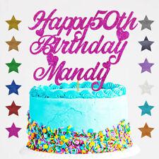Personalised Happy 50th Birthday Glitter Cake Topper Custom Name  Age 18 21 30 1