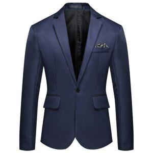 Mens Business Long Sleeve Blazer Jacket One Button Slim Fit Plain Leisure Korean