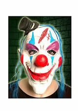 Scary Halloween Clown With Mini Top Hat Latex Overhead Mask Fancy Dress P8499