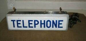 VINTAGE Lighted Gladwin Plastics Telephone Sign Underwriters Labaratories Inc
