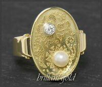 Art Deco Diamant & Perlen Damen Ring, 585 Gold, Antik um 1920 Gemüsegartenring