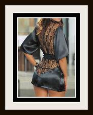 NEW Women's Open Lace Back Sexy Satin Robe Sleepwear Black Silky Robe WOW