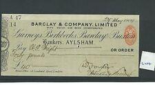 wbc. - CHEQUE - CH604- USED -1904 - BARCLAY & CO. AYLSHAM - overprint