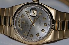 Mens Rolex OysterQuartz Day-Date President 18K Solid Gold Diamond