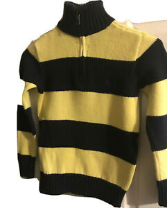 Polo Ralph Lauren Sweater 1/4 Zip Blue.& Yellow Stripe Long Sleeve Boys Size S 8
