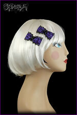 Goth Rockabilly PinUp Lolita Violet Purple & Black Lace Hair Bow Clips Barettes