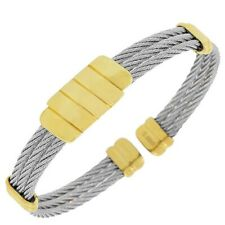 Stainless Steel Silver Gold Tone Twisted Cable Open End Womens Bangle Bracelet