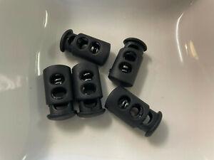 5 Kunststoff Kordelstopper BLACK 24 x 12 mm Schnur Bander  Klemme Schloss R135