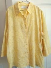 Alfred Dunner SUNSHINE YELLOW Sheer 3/4 sleeve Shirt TOP 18  NEW