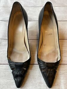vintage Christian Louboutin black leather high heels 41 pumps women pointed toe