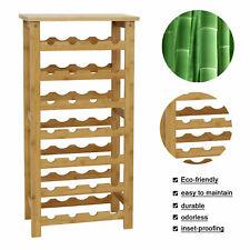 Standing Wine Rack Bamboo Wine Storage Organizer Display Rack Home 28 Bottle