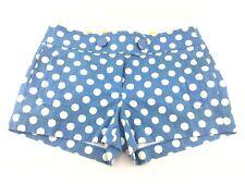 J. Crew Sz 2 Blue White Polka Dot 100% Cotton Short Shorts