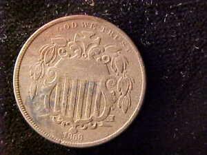 SHIELD 5 CENTS 1868 CORROSION