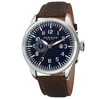 Men's Akribos XXIV AK785BU Swiss Day/Date Distressed Brown Leather Strap Watch