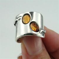 Hadar Designers 925 Sterling Silver Amber Ring size 6,7,8,9,10 Handmade (H 1006)