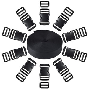1Inch Plastic Buckle Kit With 10 Pack Side Release And Black Nylon Webbing Strap