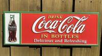 VINTAGE DRINK COCA COLA EMBOSSED METAL SIGN PORCELAIN SODA POP USA OIL GAS