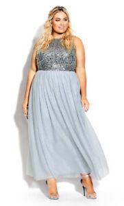 NWT CITY CHIC Shine Bright Maxi Dress Aquamarine -size 14 - size XS- RRP $199.95