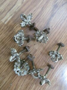Lot of 8 Old Brass Cabinet Door Pulls - CHIPPY PAINT