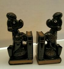 Vintage French Poodle Dog Bookends and Pen Holder Mid Century Modern Japan