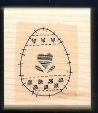EGG Hearts Fabric Quilt Sew Stitch Line Easter Design Stampin' Up! RUBBER STAMP