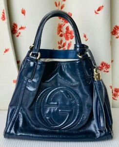 Authentic GUCCI SOHO Leather Navy Hand bag Tote Tassel Fringe Good Condition JPN