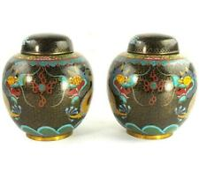 More details for pair vintage chinese  cloisonne ginger jaras dragons chasing flaming pearl