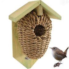 Sea Grass Birdhouse Wooden Sack Nesting Box Nest Birds Garden Gift