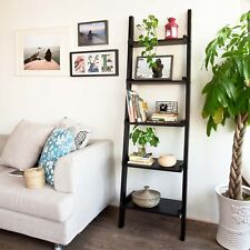 SoBuy® Modern 5-tier Wood Ladder Shelf, Wall Shelf, Bookcase,FRG17-SCH, Black,UK